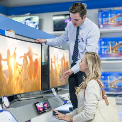 Digital signage retail shelf communication with intel panel pc