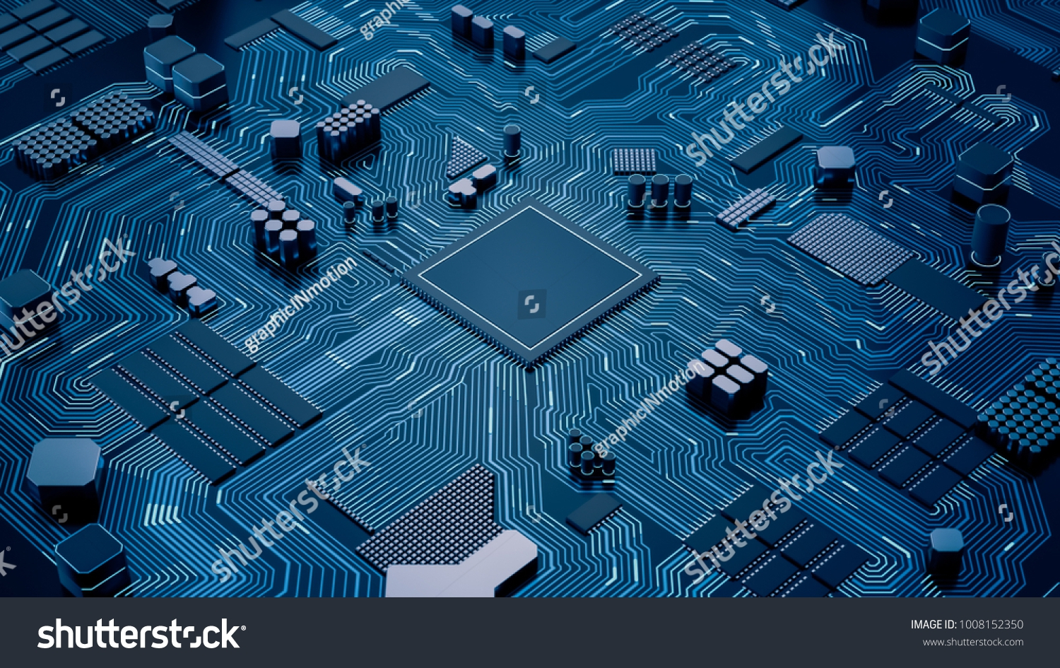 Stock Photo Cpu Chip On Motherboard Abstract D Render Of A Computer Processor Chip On A Circuit Board With 1008152350